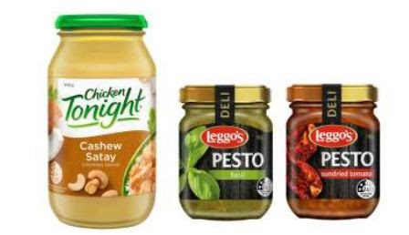 Simplot Leggo S Pesto And Chicken Tonight Cashew Satay Cooking Sauce Nsw Food Authority